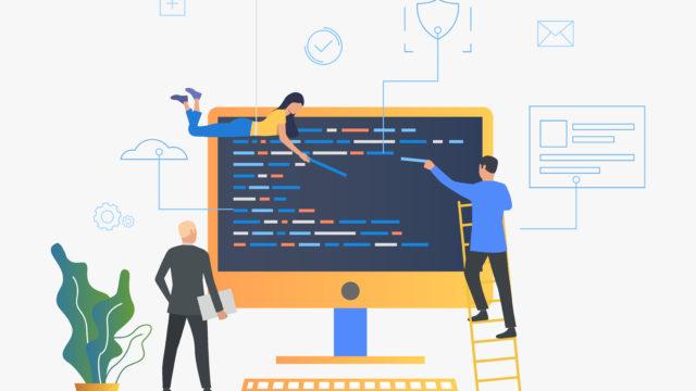 3人がコードを組み合わせてプログラミングをしているイラスト