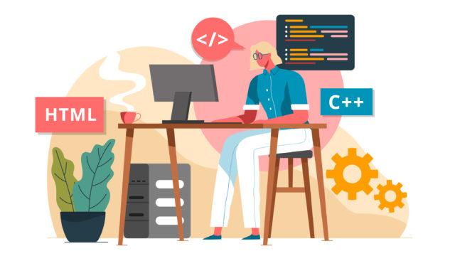 HTML&CSSを学ぶ女性